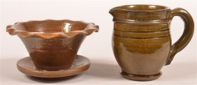 Two Pieces Of Stahl Glazed Redware Pottery.