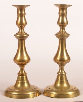 Pair Of 19th Century Brass Candlesticks.