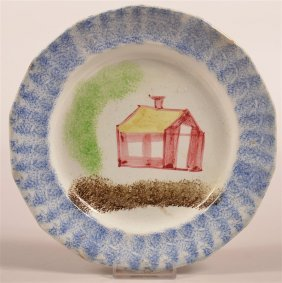 Blue Spatter School House Pattern China Plate.