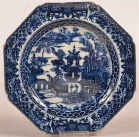 English Soft Paste Oriental Views Plate.