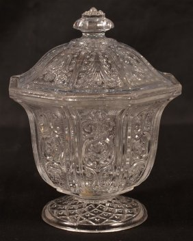 Lacy Pattern Flint Glass Covered Sugar Bowl.