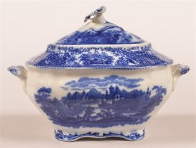 Flow Blue China Covered Sugar Bowl.