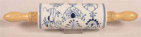 Meissen Type Blue Onion Pattern Rolling Pin.