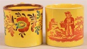 Two Canary Yellow Luster China Child's Mugs.
