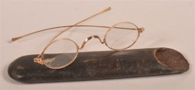 Pair Of Antique 14k Yellow Gold Eyeglasses.