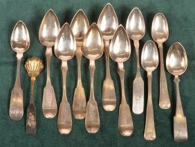 Lot Of American Coin Silver Fiddle Back Spoons.