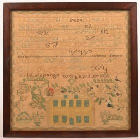 Framed Needlework Sampler 1838.