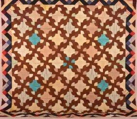 Vintage Drunkard's Path Pattern Patchwork Quilt