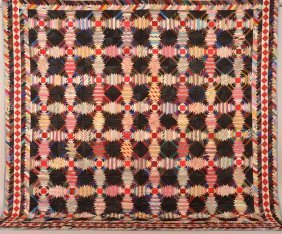 Antique Geometric Patchwork Quilt.