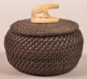 Vintage Eskimo Coiled Baleen Trinket Basket.