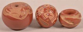 Three Pueblo Indian Miniature Pottery Jars.