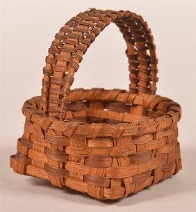 Antique Splint White Oak Miniature Basket.
