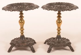 2 Ornate 19th Cent. Cast Iron & Brass Tazzas.