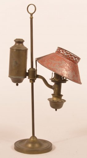19th Century Brass Single Arm Small Student Lamp.