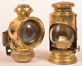 Two Various Brass Bicycle Lamps.