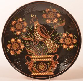 Breininger Pottery Redware Charger With Bird.