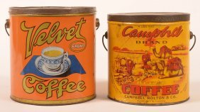 Two Antique Lithograph Adverting Coffee Tins.