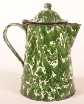 Granite Ware Green Large Swirl Coffee Pot.