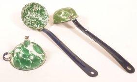 Three Pieces Of Green Large Swirl Granite Ware.