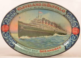 Cleveland And Buffalo Tin Lith. Oval Tip Tray.