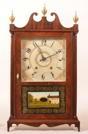 Eli Terry Mahogany Pillar And Scroll Clock.