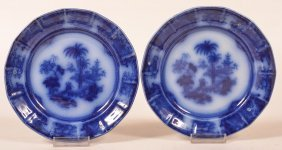 """Two Flow Blue Ironstone China """"shapoo"""" Plates."""