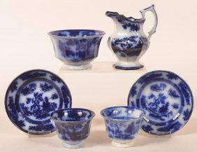 "6 Pcs. Of Flow Blue ""chapoo"" Ironstone China."