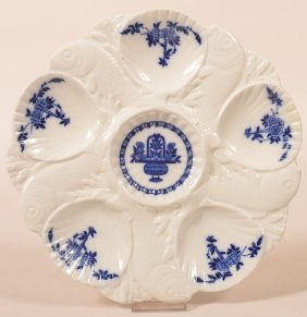 Minton Flow Blue China Oyster Plate.