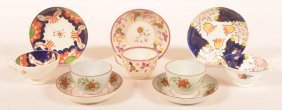 5 Soft China Floral Decorated Cups And Saucers.