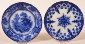 Two Various Flow Blue Transfer China Plates.