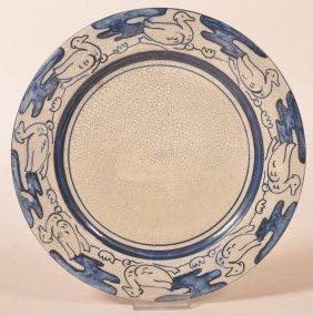 Dedham Pottery Crackle Ware Duck Border. Plate.
