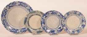 4 Various Dedham Pottery Crackle Ware Plates.