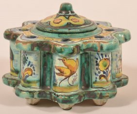 Quimper Style Pottery Inkstand.