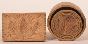 Two Antique Carved Wood Butter Prints.