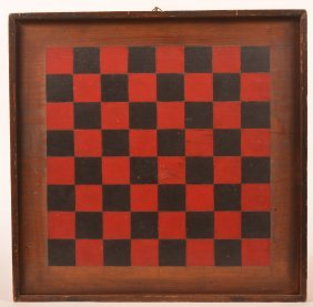 Antique Red And Black Painted Game Board.