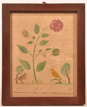 Fraktur Watercolor Drawing - Birds And Flowers.