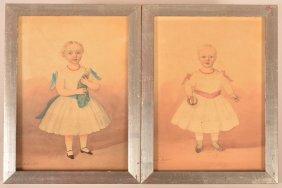 Pair Of 19th Cent. Folk Art Watercolor Paintings.