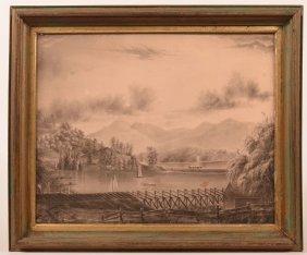 Charcoal Drawing Of Lake & Railroad Scene.