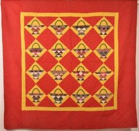Antique Basket Pattern Patchwork Quilt.