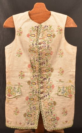 Early 18th Century Embroidered Linen Waistcoat.