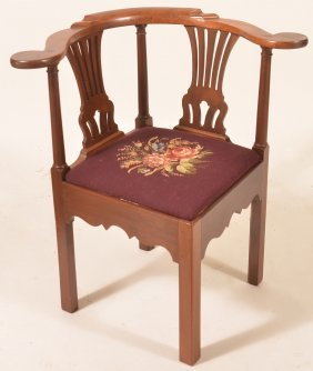 Chippendale Style Mahogany Corner Chair.