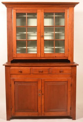Pa Federal Cherry Two Part Dutch Cupboard.