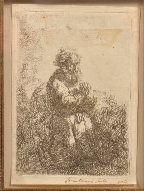 Rembrandt St. Jerome In Prayer Etching, C. 1635.