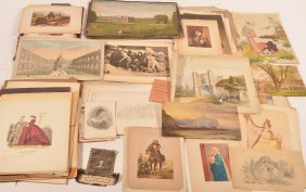 Large Lot Of Engravings, Prints And Drawings.