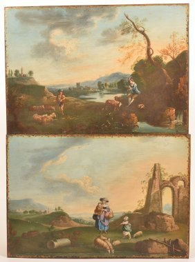 Two 19th Cent. Sheep Herder Paintings On Tin.