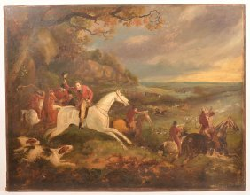 19th Century Oil On Canvas Fox Hunt Painting.