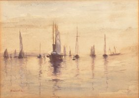 Watercolor Painting Titled New York Bay.