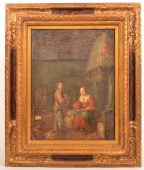 17th Century Dutch Interior Scene Painting.