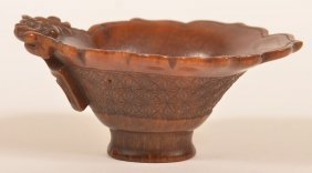 18th Century Rhinoceros Horn Libation Cup.