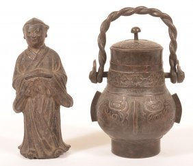 Two Antique Chinese Bronze Items.